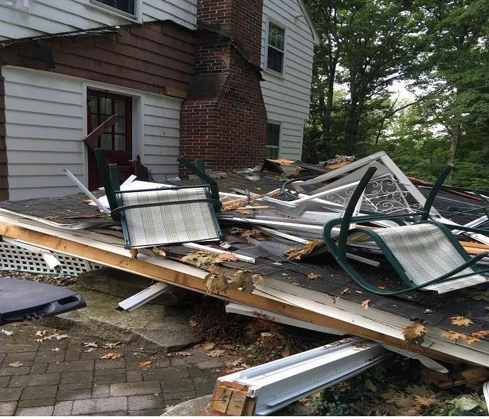 Porch Flattened by Tree in Rain/Wind Storm Before