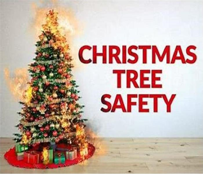Decorated Christmas tree with flames shooting out and the wording Christmas Tree Safety